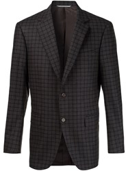 Canali Checked Notched Lapel Blazer Brown