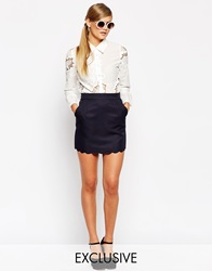 Dahlia A Line Scalloped Skirt With Piping Navy