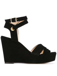 Tila March Cancun Wedge Sandals Women Leather Goat Suede 36 Black