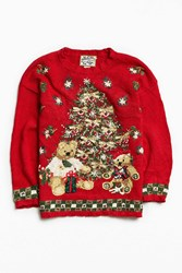 Urban Outfitters Vintage Holiday Tree Sweater Red