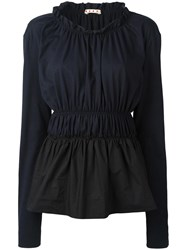 Marni Tiered Ruched Top Blue