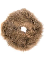 Yves Salomon Fox Fur Knitted Snood Brown