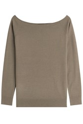 Theory Merino Wool Wide Neck Pullover Green