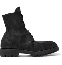 Guidi Distressed Cordovan Leather Boots Black