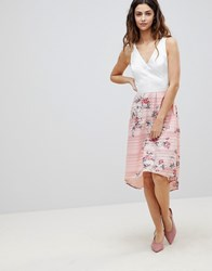 Oasis 2 In 1 Midi Dress With Floral Skirt Pink Floral Multi