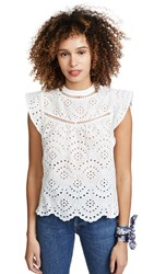 7 For All Mankind Eyelet Sleeveless Top White