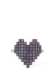 Apm Monaco Silver Pixel Purple Heart Ring Array 0X57b6d38