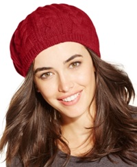 Charter Club Cashmere Cable Beret Tomato