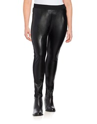 Junarose Faux Leather Accented Leggings Black