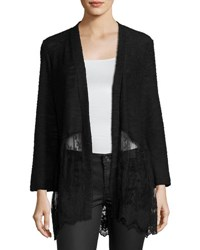 Neiman Marcus Lace Panel Open Front Cardigan Black
