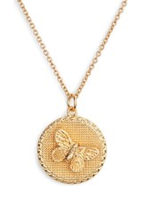 Olivia Burton Crystal Butterfly Disc Pendant Necklace Gold
