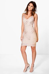 Boohoo Di Sequin Lace Midi Bodycon Dress Beige