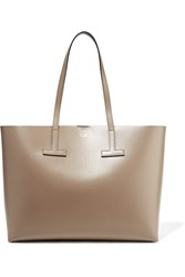 Tom Ford T Medium Textured Leather Tote Beige Gbp