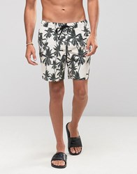 Asos Swim Shorts With Palm Print In Mid Length Stone Beige