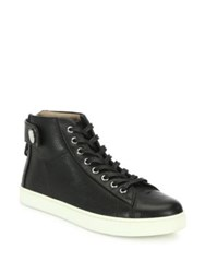 Gianvito Rossi Leather High Top Sneakers Maroon Black