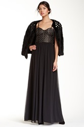 Alice Olivia Ciel Studded Genuine Leather Bodice Maxi Dress Black