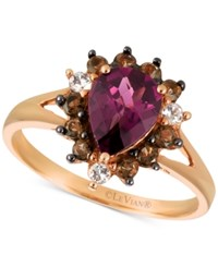Le Vian Chocolatier Rhodolite Garnet 1 1 2 Ct. T.W. Smoky Quartz 1 3 Ct. T.W. And White Topaz 1 10 Ct. T.W. Ring In 14K Rose Gold