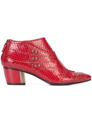 Rodarte Studded Pointed Toe Boots Women Leather 37 Red