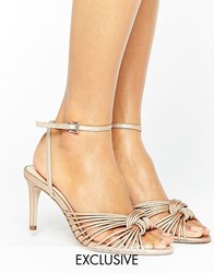 Office Millie Knot Rose Gold Mid Heeled Sandals Rose Gold