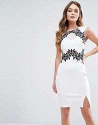 Lipsy Pencil Dress With Floral Detail White