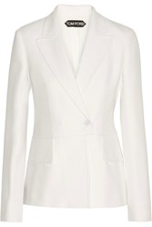 Tom Ford Double Breasted Wool Blend Twill Blazer Ivory