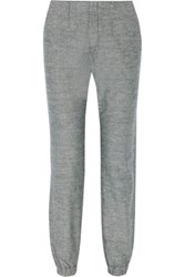 Rag And Bone Cotton Chambray Tapered Pants Blue