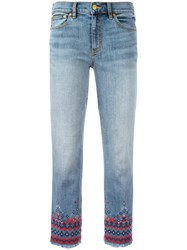 Tory Burch Embroidered Cropped Jeans Blue
