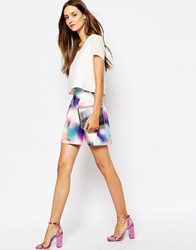 French Connection Mini Skirt In Spray Print Tampamulti