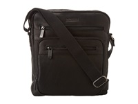 Kenneth Cole Reaction Columbian Leather 2.25 Single Gusset Top Zip Day Bag Black Messenger Bags