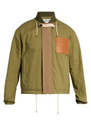 Loewe Logo Patch Cotton Jacket Green Multi