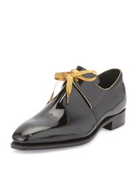Corthay Arca Patent Leather Derby Shoe With Gold Piping Black