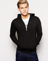 Antony Morato Half Zip Hoody With Leather Placket Black