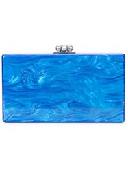 Edie Parker Marbled Effect Clutch Blue