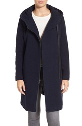 Andrew Marc New York Women's Hooded Wool Blend Coat Navy