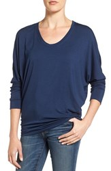 Amour Vert Women's 'Zoe' Long Sleeve Tee Navy