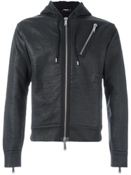 Dsquared2 Cropped Zip Detail Hoodie Black
