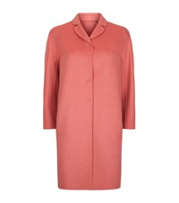 Max Mara Single Breasted Double Face Wool Angora Coat Female Pink