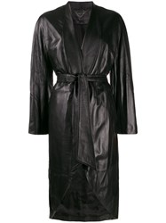 Federica Tosi Belted Leather Jacket Black