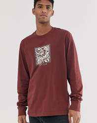Brooklyn Supply Co. Co Crew Neck Sweatshirt With Skate Print In Burgundy Red