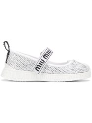 Miu Miu Sporty Ballerina Shoes Silver