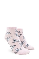 Forever 21 Dog Print Ankle Socks Pink Multi
