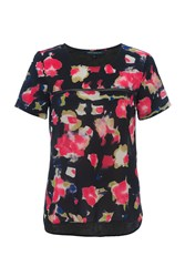 French Connection Bella Crepe Light Floral Top Black