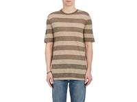 Helmut Lang Men's Rugby Striped Jersey T Shirt Brown Beige Brown Beige