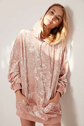 Silence And Noise Oversized Velour Hoodie Top Pink