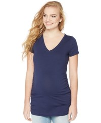Motherhood Maternity V Neck Ruched Tee Navy