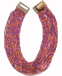 Style And Co. Gold Tone Multicolor Seed Bead Multi Row Necklace