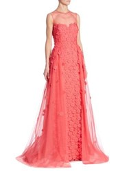 Rickie Freeman For Teri Jon Floral Applique Illusion Gown Coral