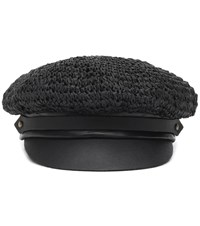Lola Hats Chauffeur Raffia And Leather Hat Black