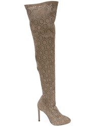 Giuseppe Zanotti Design Petra Thigh High Boots Women Leather 37 Nude Neutrals