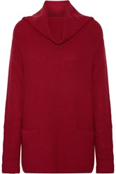 Vince Ribbed Knit Cashmere Sweater Red